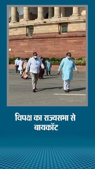 विपक्ष ने सदन से बायकॉट किया, कहा- 8 सांसदों का निलंबन वापस लेने समेत 4 मांगें पूरी की जाएं; किसानों से जुड़ा तीसरा बिल भी पास - देश - Dainik Bhaskar