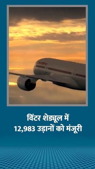 DGCA ने विंटर सीजन में 12,983 घरेलू उड़ानों की मंजूरी दी, पर यह पिछले साल से 44% कम - देश - Dainik Bhaskar