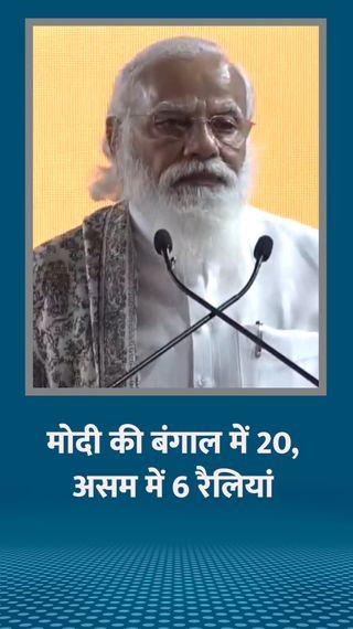 PM मोदी बंगाल में 20 और असम में 6 रैलियां करेंगे, अमित शाह-नड्डा की 50-50 सभाएं - देश - Dainik Bhaskar