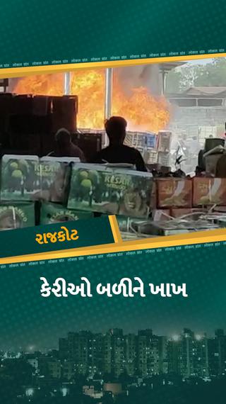 રાજકોટની મેંગો માર્કેટમાં અચાનક આગ લાગતાં અફરાતફરી મચી, લાખોનો સામાન બળીને ખાખ - રાજકોટ - Divya Bhaskar
