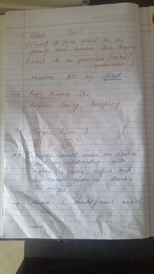 सुशांत ने इस पन्ने में अपनी जरूरतों को लाल स्याही से N कोडनेम से लिखा है- मैं सोचना चाहता हूं, अपने बारे में, परिवार के बारे में। किसी को खोना नहीं चाहता। मैं प्रोटेक्टिव, केयरिंग और समझदार होना चाहता हूं। मुक्कु मेरी जरूरतों को पूरा करती है।