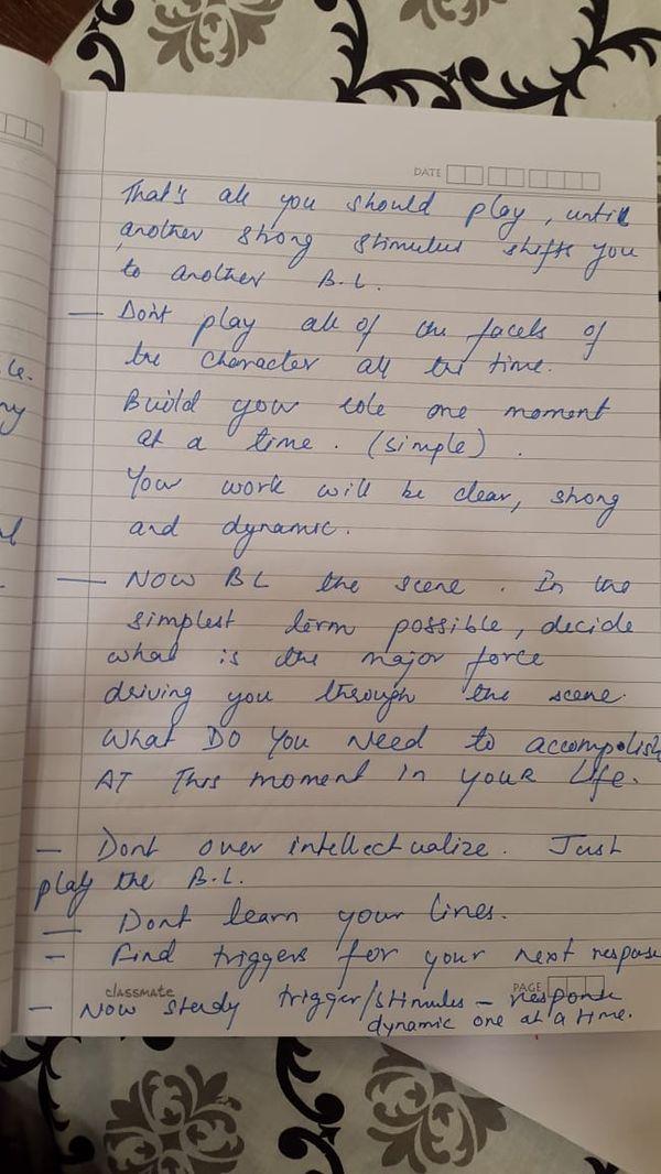 इस पेज पर सुशांत ने एक्टिंग की स्किल सुधारने से जुड़ी तैयारी के बारे में लिखा है
