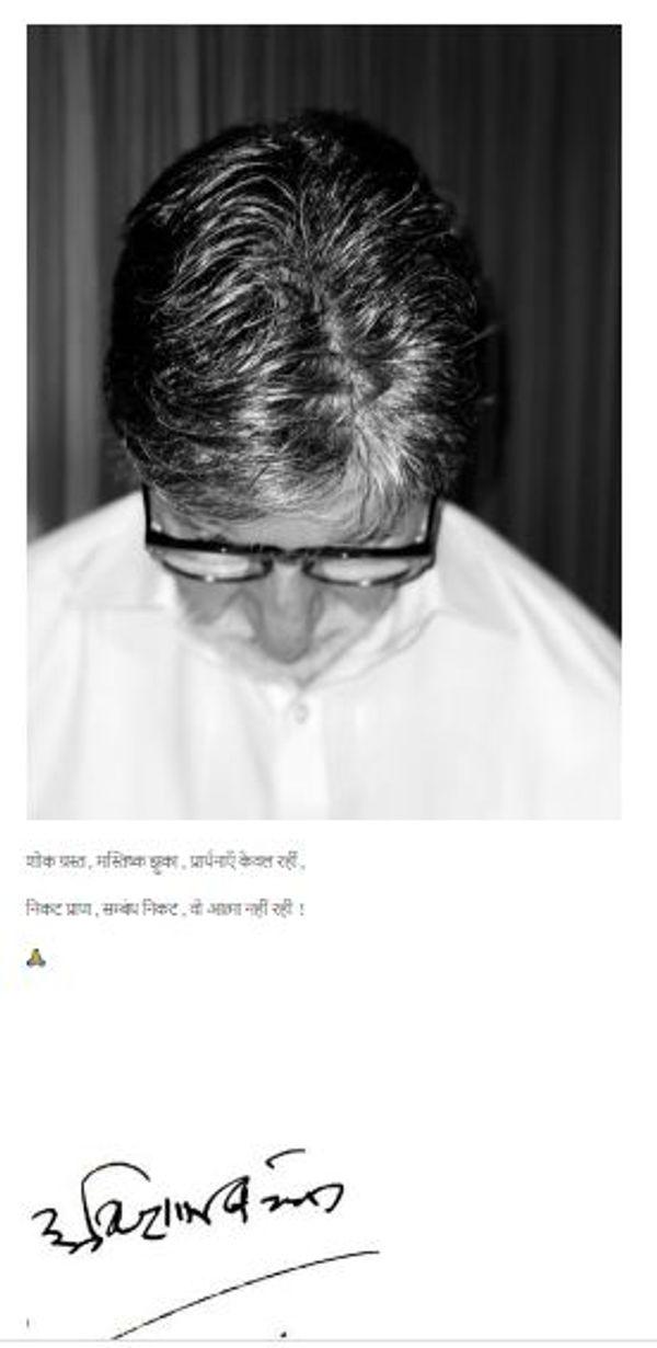 यह फोटो अमिताभ बच्चन के ब्लॉग से ली गई। इसमें उन्होंने अमर सिंह को श्रद्धांजलि दी है।