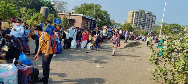 This photo is from 9 am Thursday.  People stood in long queues from the station to the auto stand.