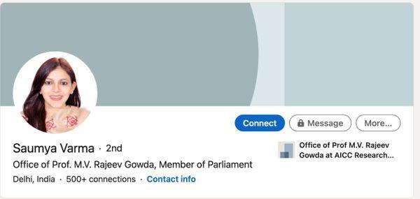 पात्रा ने बताया कि सौम्या ने अपने ट्विटर हैंडल पर खुद को कांग्रेस के राज्यसभा सांसद राजीव गौड़ा के ऑफिस का मेंबर बताया है।