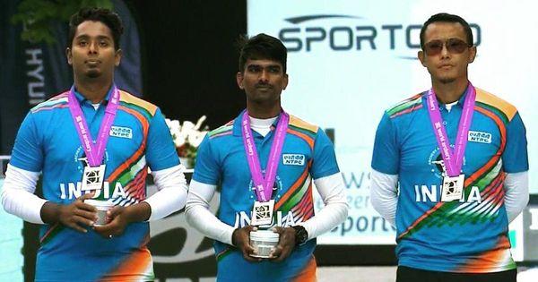 2019 वर्ल्ड चैम्पियनशिप में सिल्वर मेडल जीतने के बाद भारतीय आर्चरी टीम के अतनुदास, प्रवीण और तरुणदीप।