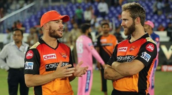 Sunrisers Hyderabad captain David Warner discussing with Kane Williamson (right) after a match in IPL 2020.