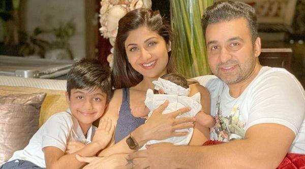 बेटे वियान, बेटी समीषा और पति राज कुंद्रा के साथ शिल्पा।