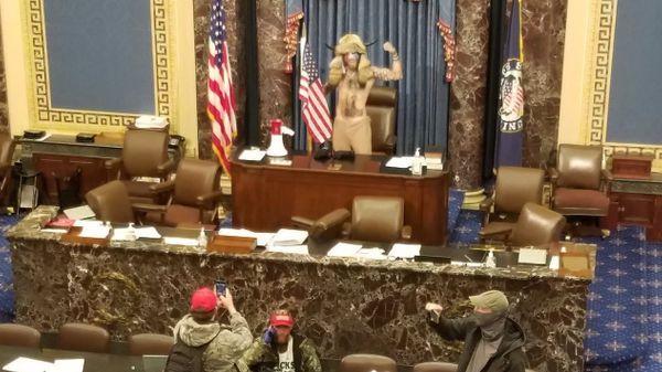 ट्रम्प का एक समर्थक हंगामे के दौरान सदन में अध्यक्ष की कुर्सी के पास जाकर खड़ा हो गया और उसने पोज देकर फोटो भी खिंचवाए।