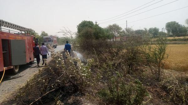 आग बुझाने बहरोड़ नगर पालिका से दमकल पहुंची। तब तक काफी झाड़ियां जल गई थी।