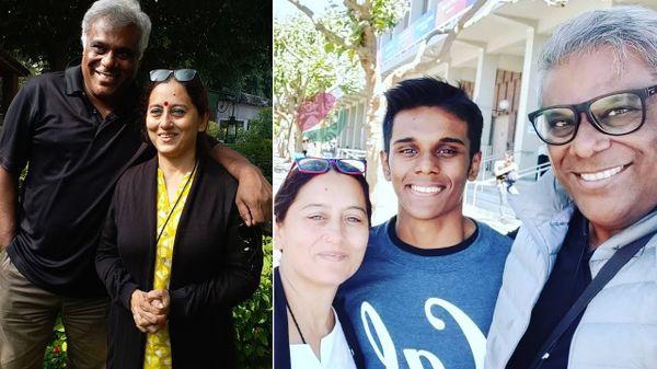 पत्नी राजोशी और बेटे अर्थ के साथ आशीष।