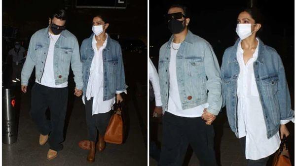 रणवीर और दीपिका को मुंबई एयरपोर्ट पर मैचिंग आउटफिट में स्पॉट किया गया