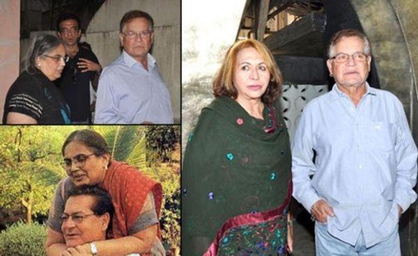 पहली पत्नी सलमा और दूसरी पत्नी हेलन के साथ सलीम खान।