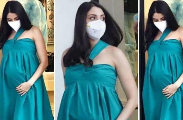 ब्रांड शूट के लिए मुंबई फिल्म स्टूडियो में अनुष्का मास्क में नजर आईं।