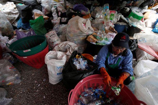 थाइलैंड के मठ में प्लास्टिक को अलग करता वॉलिंटियर।