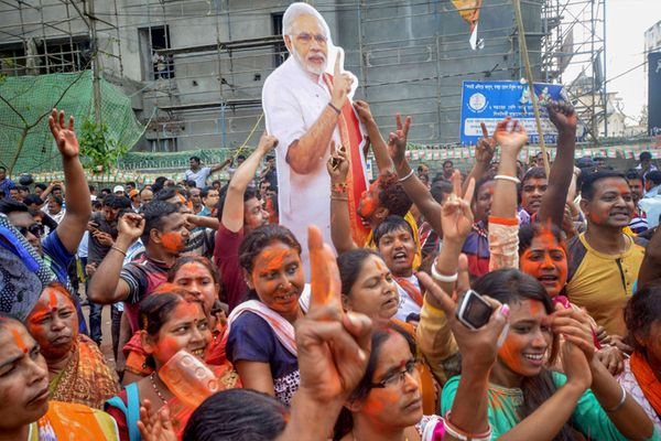 Party workers celebrating BJP's victory in the 2019 Lok Sabha elections led by Narendra Modi.  - File photo