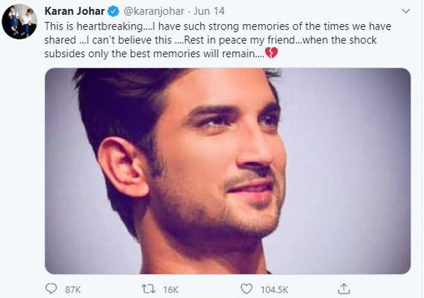 करन जौहर ने 14 जून को यह आखिरी ट्वीट किया था।
