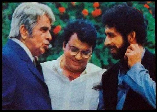 कर्मा 1986 के निर्माण के दौरान सुभाष घई के साथ दिलीप कुमार और नसीरुद्दीन शाह