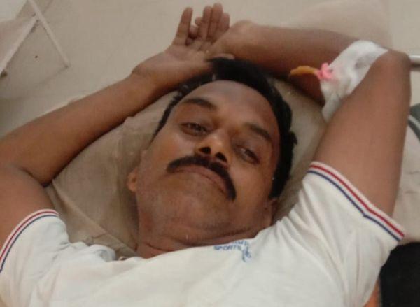 हादसे में घायल विजयराज राठौड़ पुत्र शंकरलाल राठौड़ (45) निवासी गांधीनगर।