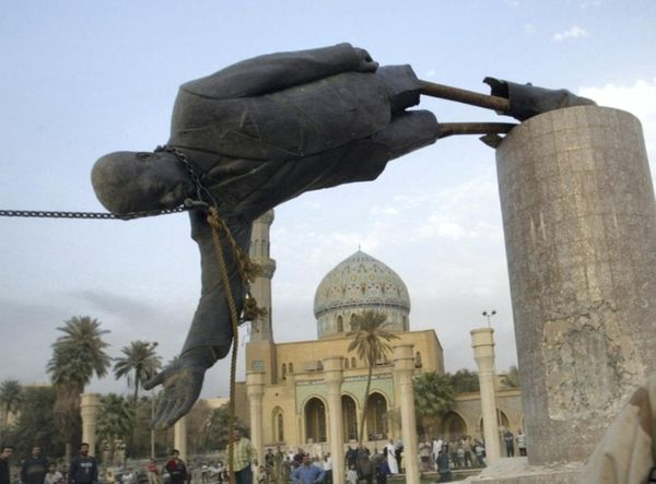 On this day in 2003, this statue of Saddam was dropped in Baghdad.
