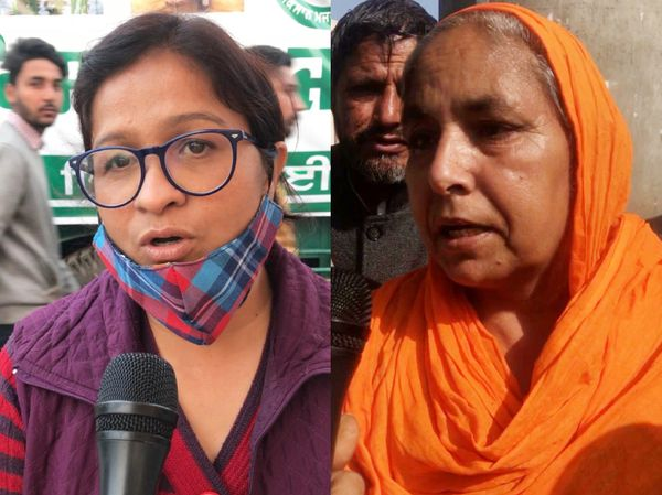 प्रगतिशील महिला एकता केंद्र की महासचिव रजनी जोशी (बाएं) लुधियाना से प्रदर्शन में शामिल होने आईं सरबजीत कौर (दाएं)।