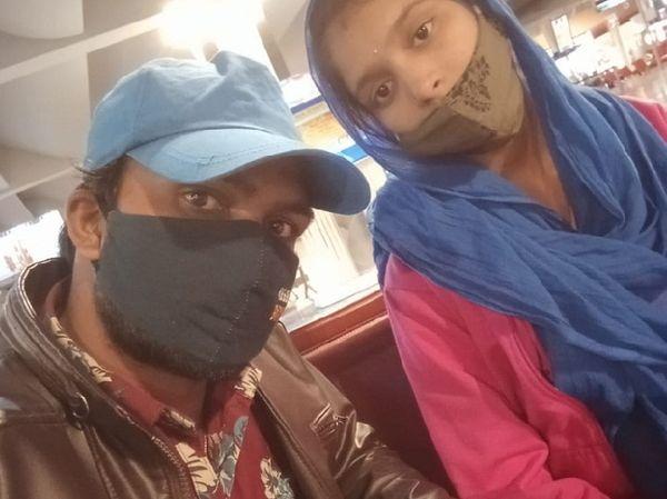 बेंगलुरु एयरपोर्ट पर ललिता व भैरो सिंह।