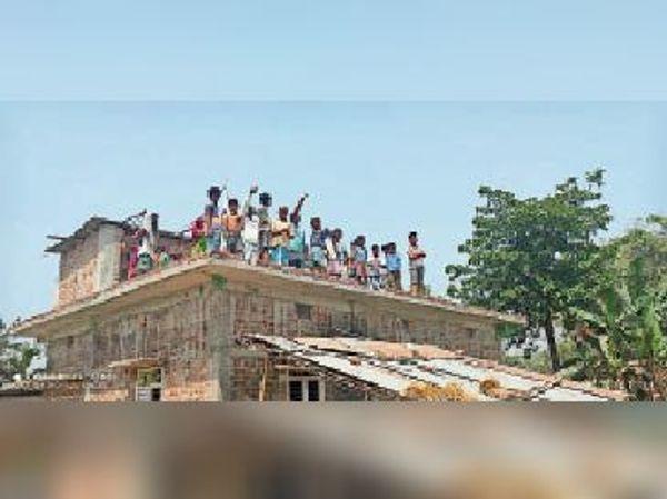 हाथियों की झुंड को देखने के लिए छत पर लोगों की भीड़।