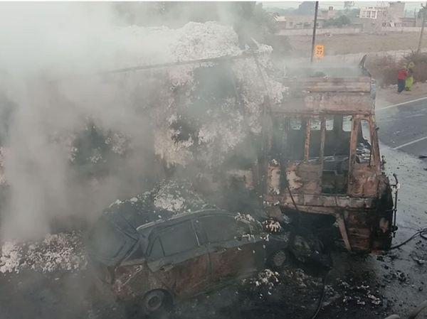 આગ લાગતાં i10 કારમાં સવાર 3 મહિલા ભડથું થઈ ગઈ હતી