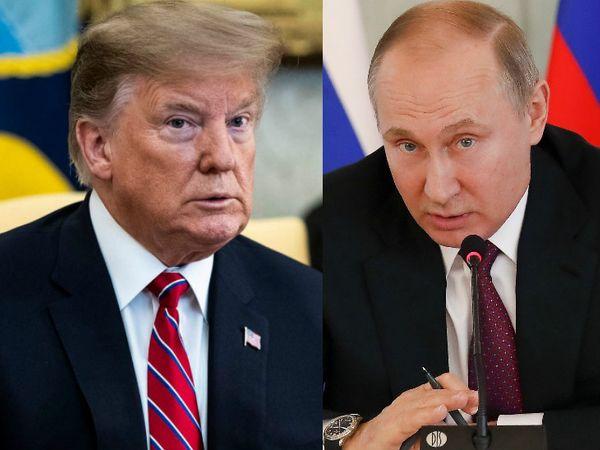 अमेरिका के राष्ट्रपति डोनाल्ड ट्रम्प और रूस के राष्ट्रपति व्लादिमीर पुतिन। - Dainik Bhaskar