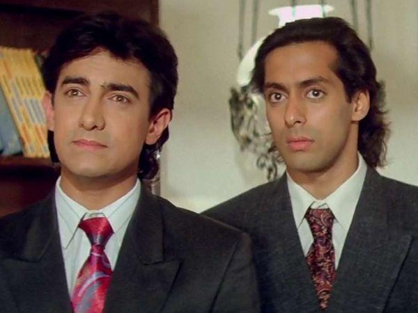 आमिर खान और सलमान खान \'अंदाज अपना अपना\' के एक सीन में। - Dainik Bhaskar