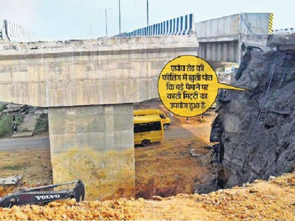 एनएचएआई के पुल की एप्रोच रोड बैठ गई। स्लैब में दरारंे आने से अब दोबारा बनाया जा रहा है। - Dainik Bhaskar