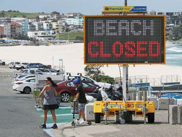 ऑस्ट्रेलिया के सिडनी बीच (समुद्र तट) बंद। यहां 10 हजार से ज्यादा लोग कोरोना पॉजिटिव हैं।