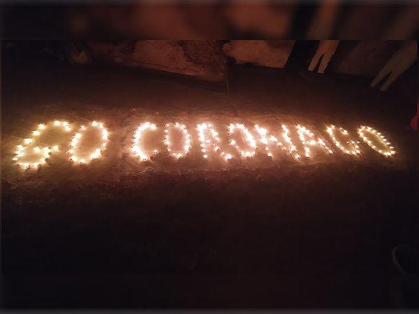पानीपत में बच्चों ने दीपों से गो कोरोना लिखकर मुहिम में साथ दिया।