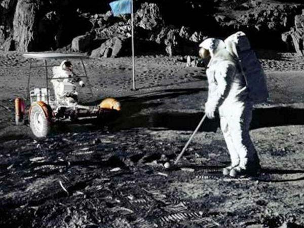 अमेरिकी एस्ट्रोनॉट और शौकिया गोल्फर एलन शीफर्ड चंद्रमा की सतह पर इसे खेलने वाले एकमात्र व्यक्ति थे। उन्होंने 6 फरवरी 1971 को चंद्रमा की सतह पर गोल्फ बॉल हिट की थी। - Dainik Bhaskar