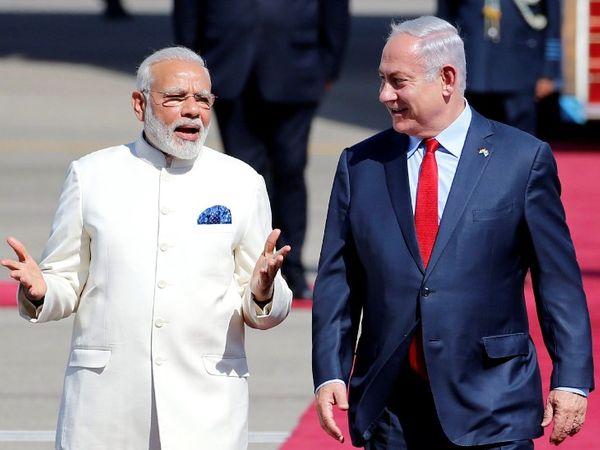 भारत हाइड्रॉक्सीक्लोरोक्विन दवा का दुनिया में प्रमुख उत्पादक और निर्यातक है। इजराइल के प्रधानमंत्री बेंजामिन नेतन्याहू और नरेंद्र मोदी। (फाइल) - Dainik Bhaskar