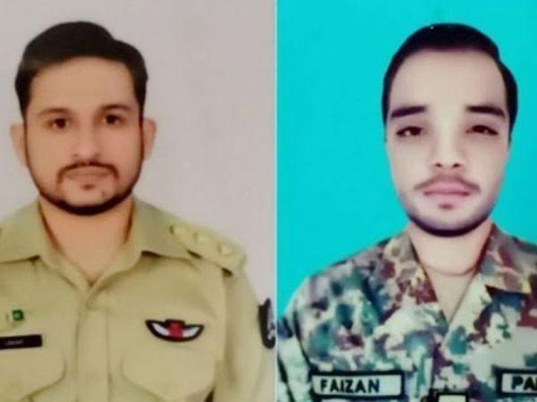 पाकिस्तान सेना का ट्रेनिंग विमान गुजरात के पास क्रैश हुआ। इसमें इंस्ट्रक्टर पायलट मेजर उमर(दाएं) और लेफ्टिनेंट फैजान(बाएं) की मौत हो गई। - Dainik Bhaskar