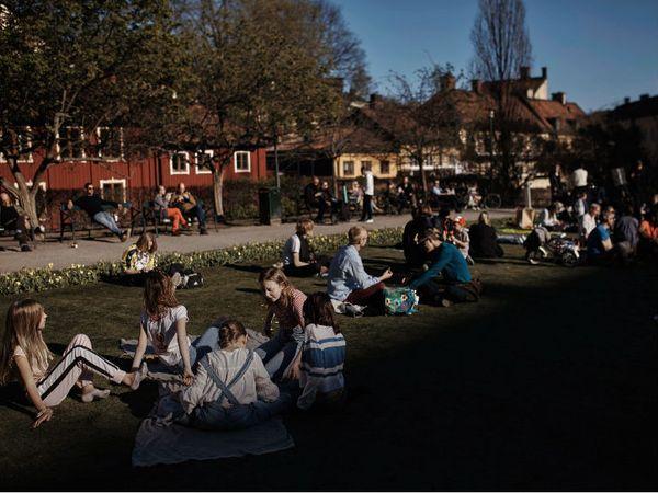 स्वीडन की राजधानी स्टॉकहोम के एक पार्क में बैठे लोग। यहां लोग अपनी इच्छा से ही नियमों का पालन कर रहे।