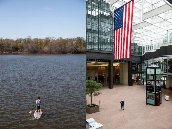 एक अकेला पेडलबोर्डर झील को पार करता हुआ। दाएं, लंच के वक्त आईडीएस सेंटर में सन्नाटा पसरा रहा। मिनेसोटा में कुछ उद्योगों और खेती पर से प्रतिबंध हटा लिए गए हैं।