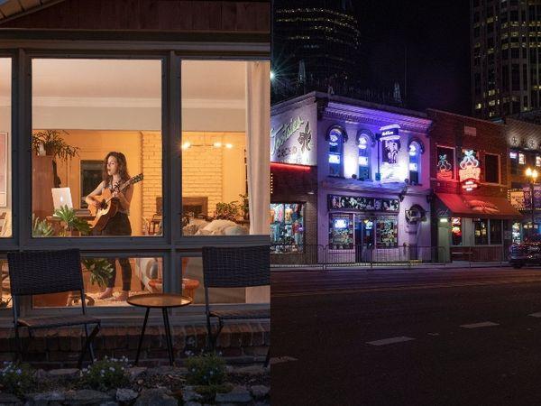 नैशविल का मशहूर लोअर ब्रॉडवे खाली है। शहर के कई बार, रेस्टोरेंट और म्यूजिक इंडस्ट्री में काम नहीं हो रहा है। संगीतकार मिकेला एन अपने घर से ही लाइवस्ट्रीम होस्ट कर रहीं हैं।(बाएं)