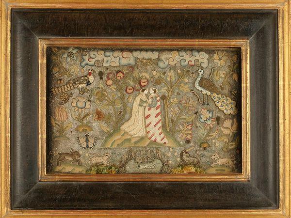 द विजिटेशन विजिटेशन के 17वीं शताब्दी के प्रदर्शन को सिलाई के जरिए दिखाया गया था। इसे कांच-धातुओं के मोती और लिनन पर सिल्क से तैयार किया गया था। हर्न के मुताबिक, यह शायद किसी हुनरमंद ने बनाया होगा, जिसमें उस समय की महिला की हेडड्रेस नजर आ रही है।