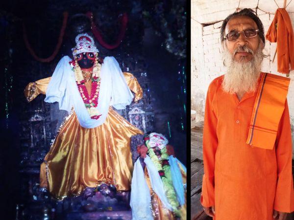 मंदिर में स्थापित भगवान की मूर्ति और पुजारी के.पी. शुक्ला।