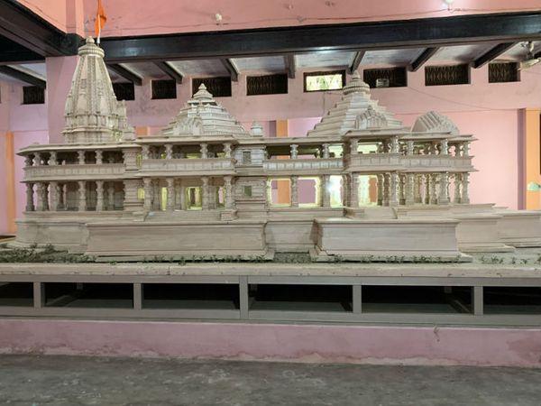 राम मंदिर निर्माण के लिए अयोध्या के कारसेवकपुरम में रखा प्रस्तावित मॉडल। - Dainik Bhaskar
