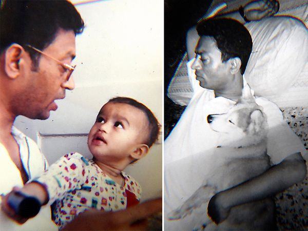 बाबिल ने अपनी पोस्ट के साथ पिता इरफान खान के दो फोटो भी शेयर किए। - Dainik Bhaskar