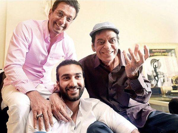फाइल फोटो में जाफरी परिवार की 3 पीढ़ियां: अपने सबसे बड़े बेटे जावेद जाफरी और उनके बेटे मीजान के साथ जगदीप। - Dainik Bhaskar