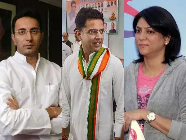 जतिन प्रसाद(बाएं), प्रिय दत्त(दाएं) और सचिन पायलट(बीच में)। - Dainik Bhaskar