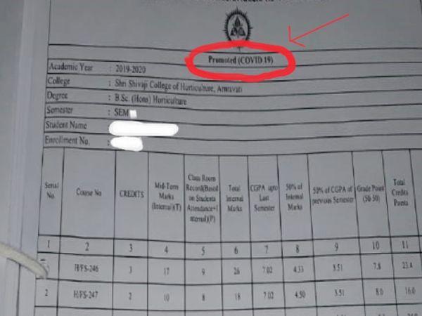 छात्रों को सोमवार को दी गई मार्कशीट के उपरी हिस्से पर कोविड-19 लिखा गया है। - Dainik Bhaskar