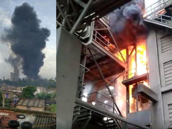 गुजरात के कोडीनार में स्थित अंबुजा सीमेंट के प्लांट मे लगी भीषण आग। - Dainik Bhaskar