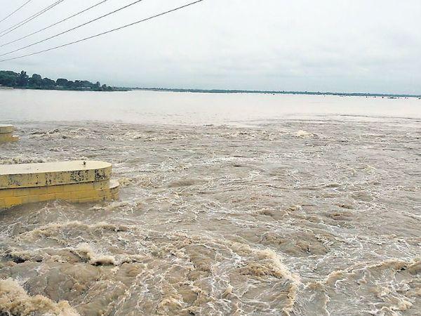 भारी बारिश से कोसी के जलस्तर में लगातार बढ़ोत्तरी हो रही है। - Dainik Bhaskar