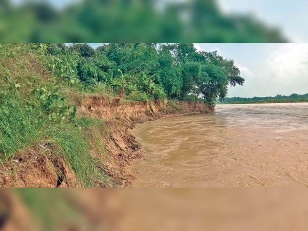 परिचय भकुआ में कमला नदी में तेजी से हाे रहा कटाव। - Dainik Bhaskar