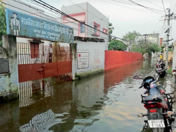 मिठनपुरा के शिवशंकर पथ का नजारा, स्कूल समेत घरों में भी घुसा पानी। - Dainik Bhaskar